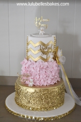 Gold and pink ruffle