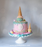 Ice cream cone chocolate drip cake