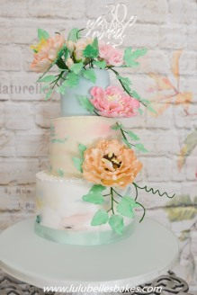 pastel cake with sugar flowers
