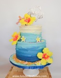 Tropical cake with sugar flowers
