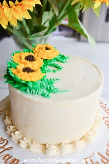 Buttercream cake with piped sunflowers