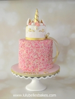 Sprinkle cake with unicorn topper