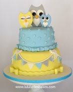 Family of Owls, bunting and flowers