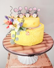 Yellow ruffle Cheese and Mice cake