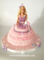 Buttercream ruffle barbie cake