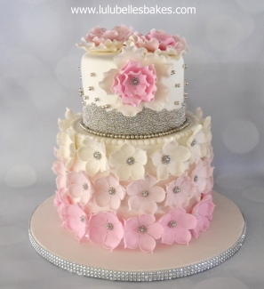 Pink ombre flower cake with silver ball detail