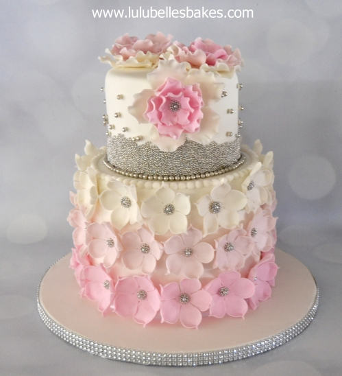 Birthday cakes for ladies pink ombre flower cake with silver ball detail mightylinksfo