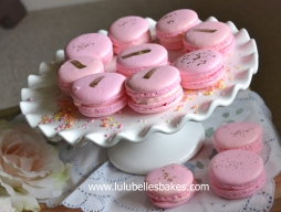 Pink with gold detail macarons