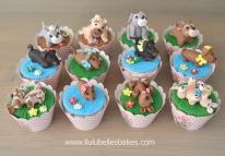 Playful dog cupcakes