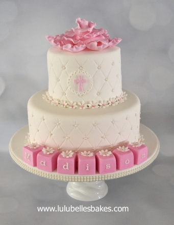 Diamond embossed christening cake