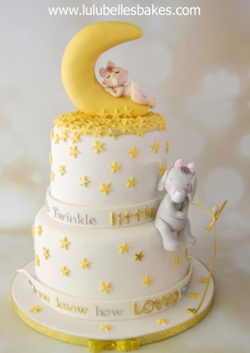 Twinkle Star cake with Baby in moon and Elephant fishing
