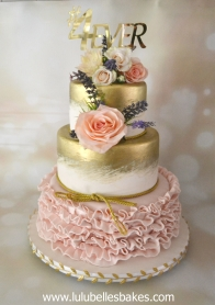 Pink ruffle with gold tiers
