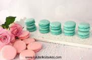 turquoise and pink macarons