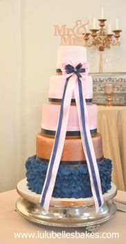 Navy, pink and rose gold wedding