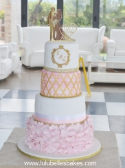 Pink ruffles with white and gold