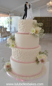Ivory embossed with pink pearls