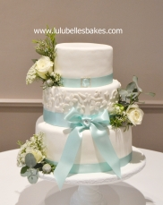 White embossed with fresh flowers