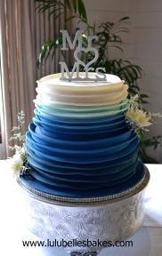 Ombre blue ruffle