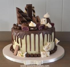 Chocolate drip cake with nougat