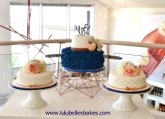 Navy ruffle and side cakes