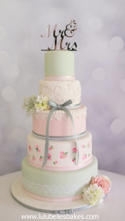 Pink and mint green with hand painted roses