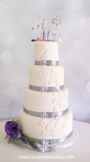 Traditional white with embossed flower detail