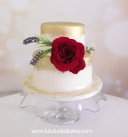 Gold and white with large silk rose