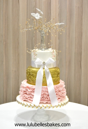 Pink ruffle with gold detail