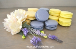 Yellow and purprle macarons