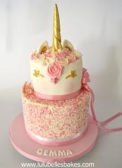 2 tier sprinkle unicorn cake