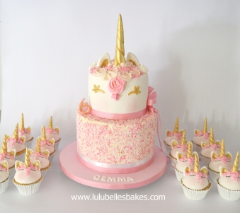 2 Tier Sprinkle Unicorn Cake And Cupcakes