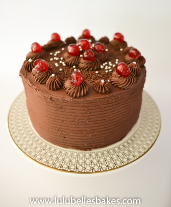 Chocolate buttercream with cherries