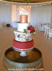 Burgundy and rose gold with edible print