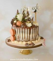 Semi naked chocolate sponge drip cake